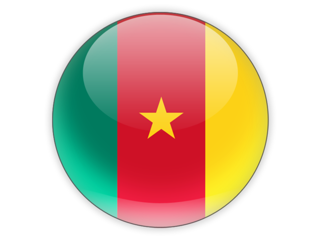 A sphere depicting the flag of Cameroon